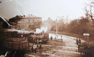 Dombrowa Polen Zug im Bahnhof Dąbrowie Górniczej (um 1916)
