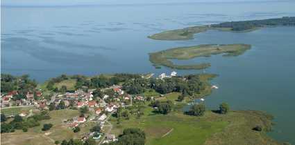 Lysa Wyspa Polen Lysa Wyspa aus der Luft von Altwarp aus gesehen
