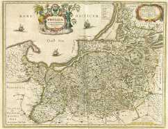 Pommerellen Polen Pomerellia westlich der Weichsel auf einer Karte von Prussia (Atlas Blaeu, 1645)