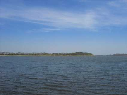 Wyspa Chrzaszczewska Polen Die Insel von Westen gesehen